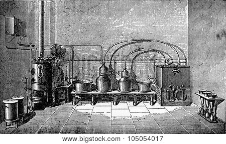 Overview of a medium-sized factory liqueurs, vintage engraved illustration. Industrial encyclopedia E.-O. Lami - 1875.