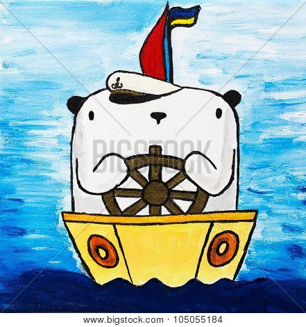 Picture paints white teddy bear on boat
