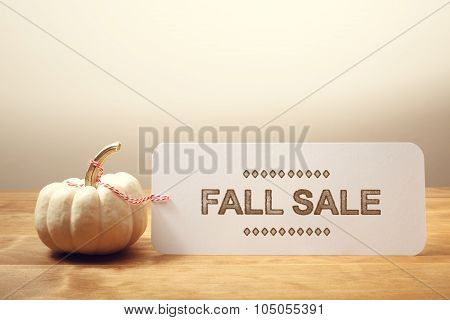 Fall Sale Message With Small Pumpkin