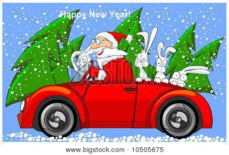 Santa Claus is riding on cabriolet with hares.