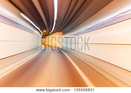 yellow color tunnel car driving motion blur