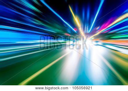 Blurred lights, long exposure photo of traffic