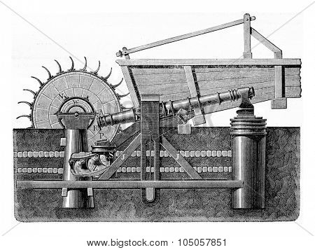 Martinet Styrian driven by a water wheel, vintage engraved illustration. Industrial encyclopedia E.-O. Lami - 1875.