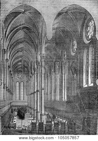 Refectory of the priory of Saint-Martin-des-Champs in Paris, vintage engraved illustration. Industrial encyclopedia E.-O. Lami - 1875.