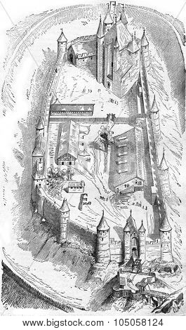 Isometric view of the Castle of Arques, vintage engraved illustration. Industrial encyclopedia E.-O. Lami - 1875.