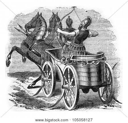 Chariot warrior, vintage engraved illustration. Industrial encyclopedia E.-O. Lami - 1875.