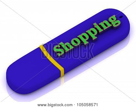 Shopping - Bright Green Volume Letter On Blue Usb Flash