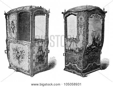 Sedan chair held at the Musee de Versailles, vintage engraved illustration. Industrial encyclopedia E.-O. Lami - 1875.