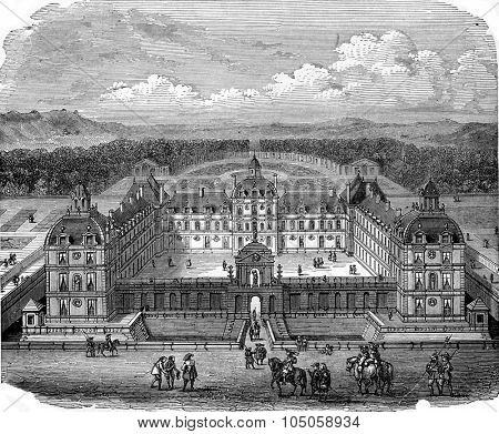 Chateau Richelieu in Poitou, vintage engraved illustration. Industrial encyclopedia E.-O. Lami - 1875.