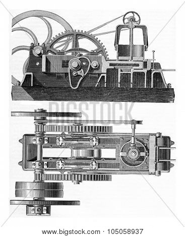 Machine Durand and Marais. Elevation and Plan, vintage engraved illustration. Industrial encyclopedia E.-O. Lami - 1875.