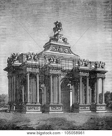 High triumphal arch under Louis XIV, vintage engraved illustration. Industrial encyclopedia E.-O. Lami - 1875.