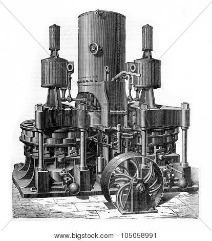 Machine charcoal, the new company forges and shipyards in the Mediterranean, vintage engraved illustration. Industrial encyclopedia E.-O. Lami - 1875.
