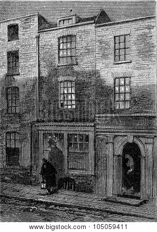 House where Turner was born, vintage engraved illustration. Magasin Pittoresque 1882.