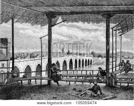 The Bridge of Adana, vintage engraved illustration. Magasin Pittoresque 1882.