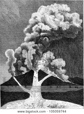 Section of a volcano, Interior view of an eruption, vintage engraved illustration. Magasin Pittoresque (1882).