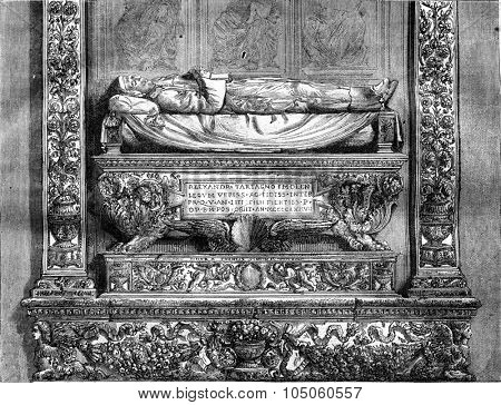 Tomb of Alessandro Tartagni at St. Dominic in Bologna, vintage engraved illustration. Magasin Pittoresque 1878.