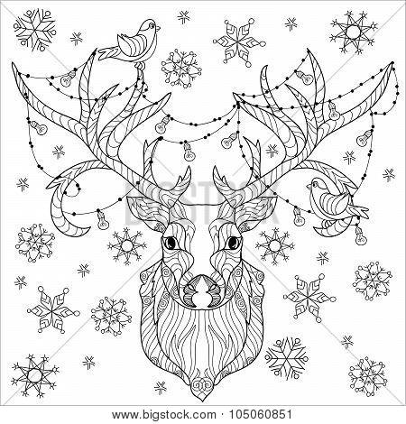 Christmas deer head doodle.