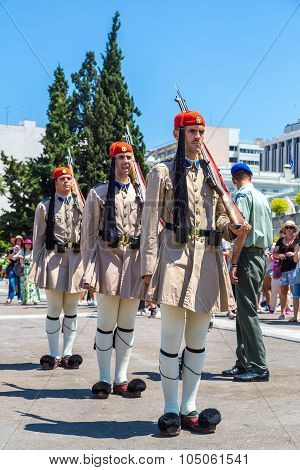 Ceremonial Changing Guards In Athens