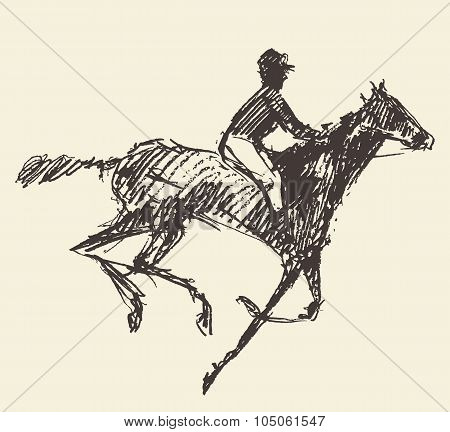 Rider horse jockey retro style hand drawn sketch