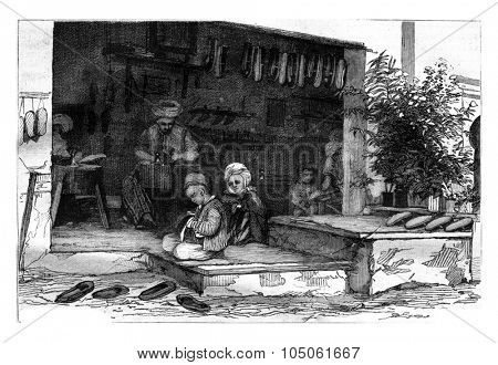 A shoemaker's shop in Constantine, vintage engraved illustration. Magasin Pittoresque 1878.