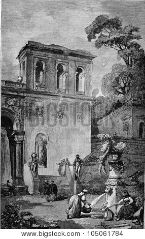 Collection Goncourt, Sketch by Hubert Robert, vintage engraved illustration. Magasin Pittoresque 1877.