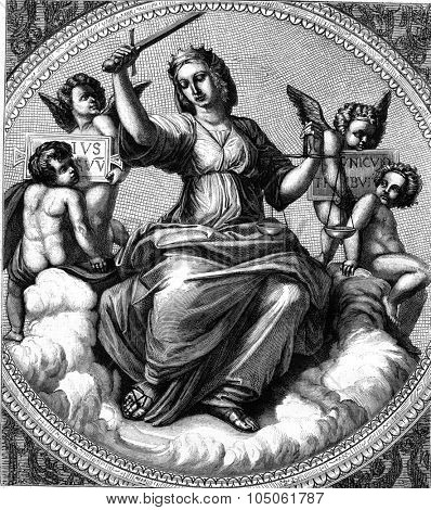 Justice, fresco by Raphael in the Vatican, vintage engraved illustration. Magasin Pittoresque 1877.