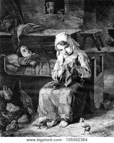 Child herder, vintage engraved illustration. Magasin Pittoresque 1867.