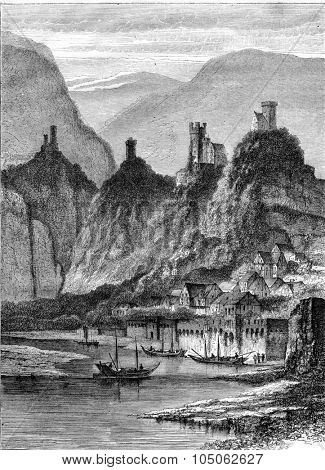 Neckarsteinach and the four castles land damage, vintage engraved illustration. Magasin Pittoresque 1867.