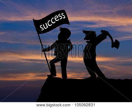 Concept Skyline,cartoon Man Hold Axe And Man Hold Flag Success