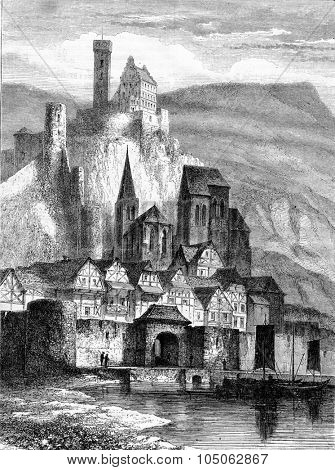 Hirschhorn on the Neckar, vintage engraved illustration. Magasin Pittoresque 1867.