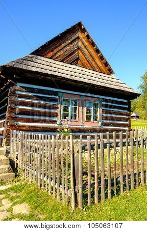 Detail Of Old Traditional Wooden House In Slovakia, Eastern Europe