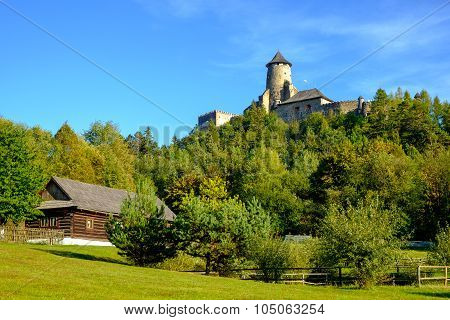 Landscape View Of Old Traditional House And Castle, Slovakia