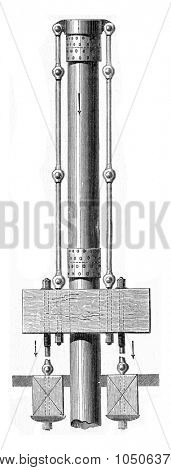 Casing of wells drilled. Layout used for driving tubes by pulling, vintage engraved illustration. Industrial encyclopedia E.-O. Lami - 1875.