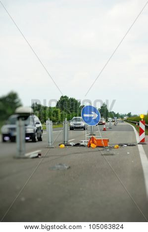 Blue Sigh With Arrow On Hungarian Highway