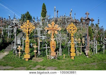 View of hill of crosses