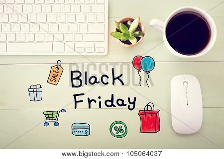 Black Friday Message With Workstation