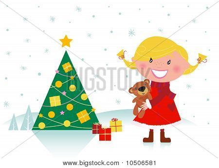 Cute girl with christmas tree and gifts