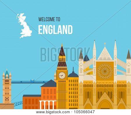 London, United Kingdom flat icons design travel concept. London travel.