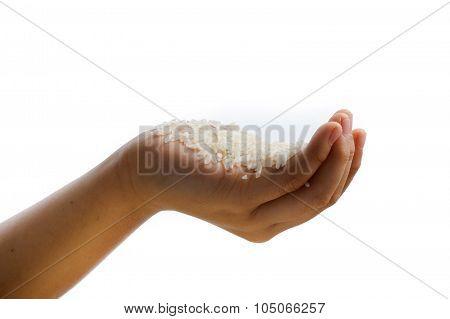 White Jasmine Rice In Kid Hand