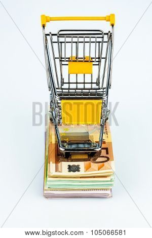 shopping cart stands on banknotes, symbol photo for shopping, purchasing power, money printing and inflation