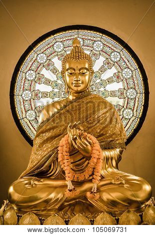 Buddha Statue And Wheel Of Life