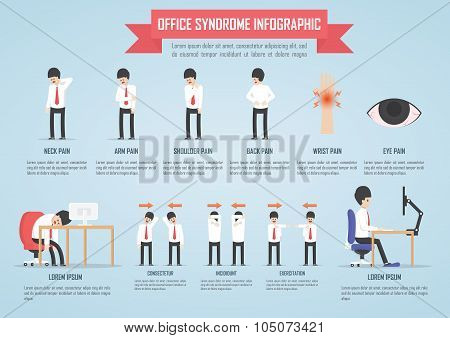 Office Syndrome Infographic Template Design