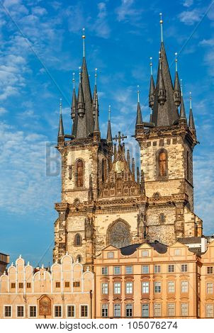 temple Our Lady before Tyn in Prague, Czech republic. Illustration