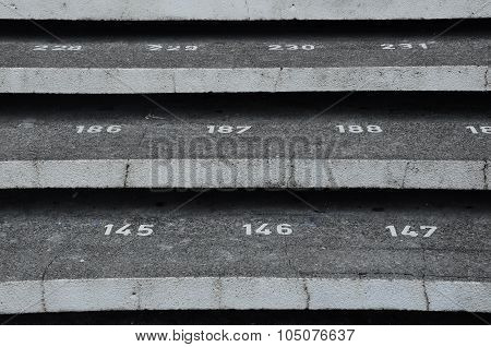 Staircase step with numbers at Kuching Town Mosque
