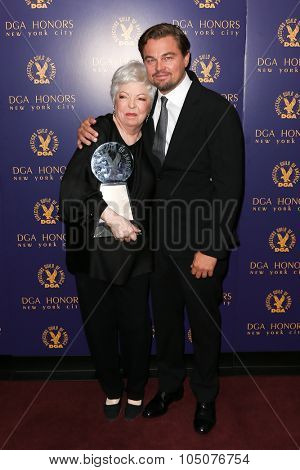 NEW YORK-OCT 15: Film editor Thelma Schoonmaker (L) and actor Leonardo DiCaprio attend the DGA Honors Gala 2015 at the DGA Theater on October 15, 2015 in New York City.