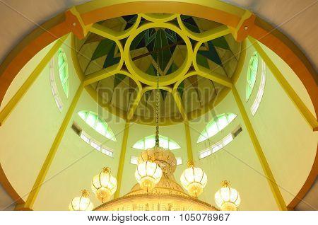 Inside dome of Kuching Town Mosque a.k.a Masjid Bandaraya Kuching in Sarawak, Malaysia