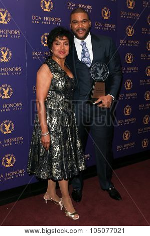NEW YORK-OCT 15: Actress Phylicia Rashad (L) and Tyler Perry attend the DGA Honors Gala 2015 at the DGA Theater on October 15, 2015 in New York City.