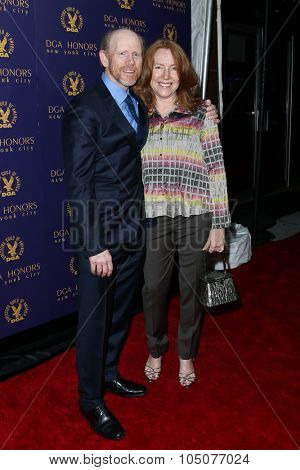 NEW YORK-OCT 15: Director Ron Howard (L) and wife Cheryl Howard attend the DGA Honors Gala 2015 at the DGA Theater on October 15, 2015 in New York City.