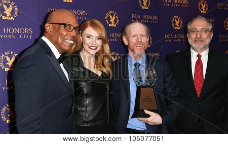 NEW YORK-OCT 15: (L-R) Paris Barclay, Bryce Dallas Howard, Ron Howard and DGA Vice President Vincent Misiano attend the DGA Honors Gala 2015 at the DGA Theater on October 15, 2015 in New York City.
