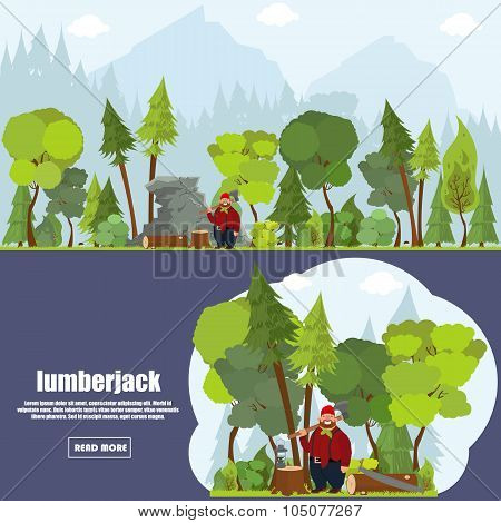 Forest landscape with woodcutter